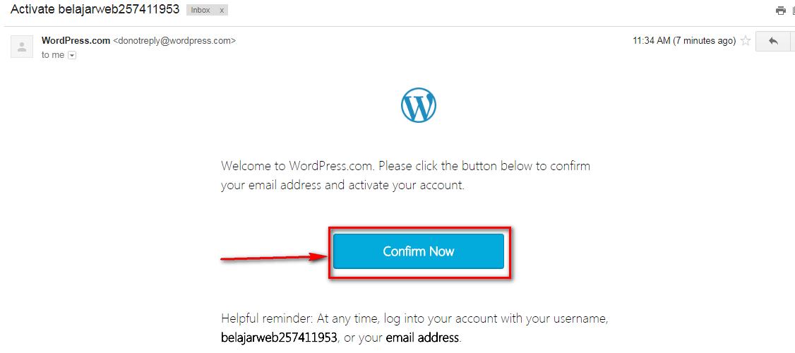 Aktifasi Verifikasi Email Pendaftaran WordPress