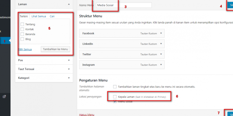 Cara Setting Menu Pada Wordpress