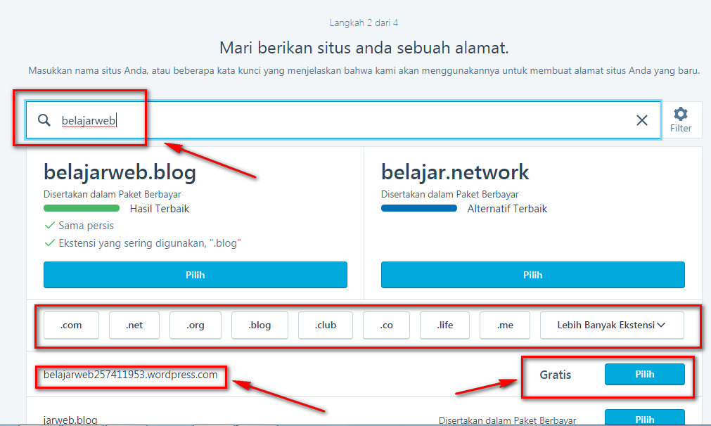 Memilih Nama Untuk Website Anda Pada WordPress