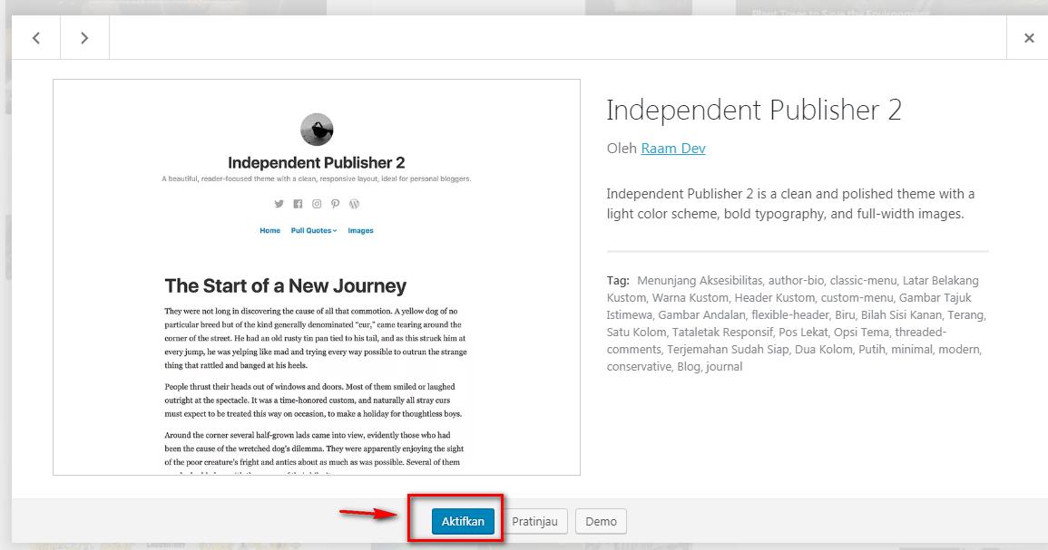 Mengaktifkan Theme WordPress Yang Di Pilih