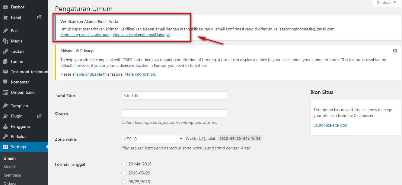 Verfikasi Email Melalui Menu Admin WordPress